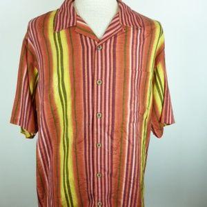 TOMMY BAHAMA vertical stripe silk hawaiian shirt L
